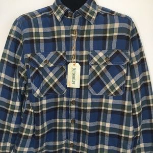 Outdoor Life Blue Plaid Flannel Shirt Faux Sherpa